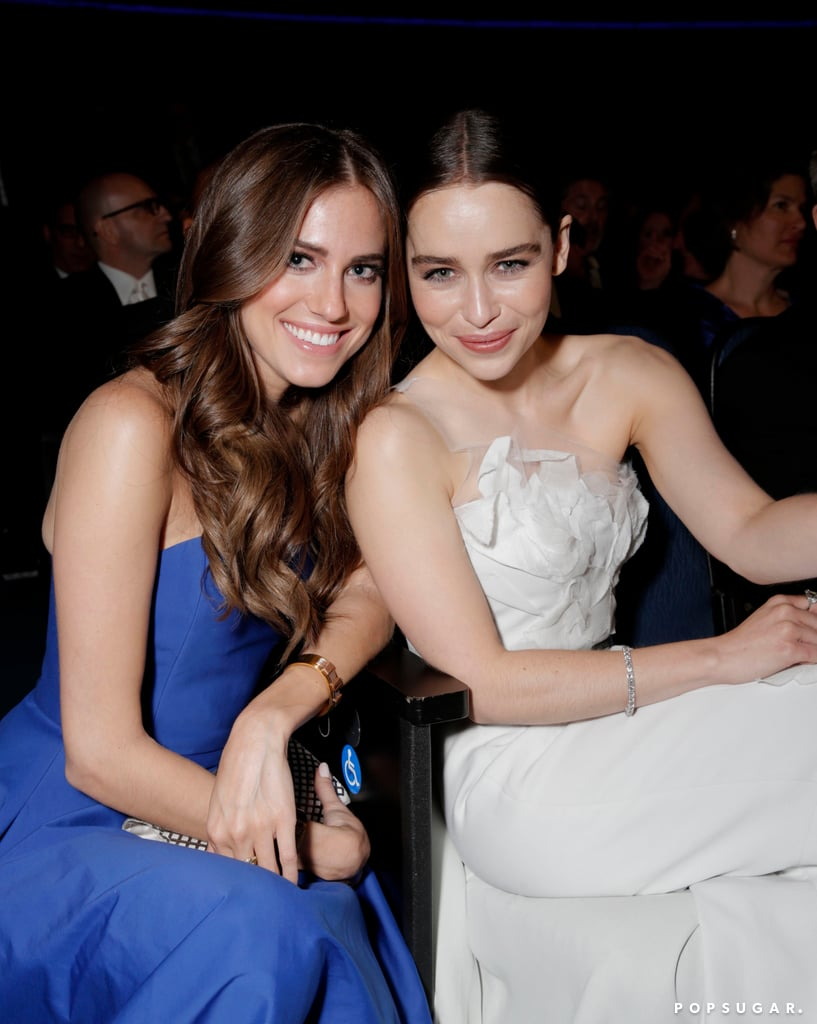 Girls star Allison Williams was all smiles in her seat with Game of Thrones's Emilia Clarke during the ceremony.