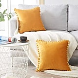Top Finel Decorative Throw Pillow Covers With Pom Poms