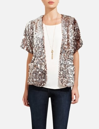 The rose-gold shimmer on this The Limited Silver & Rose Gold Sequin Jacket ($148) would look gorgeous against creamy white cashmere.
