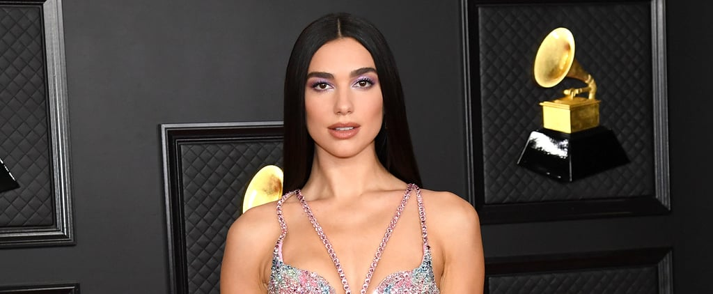 Dua Lipa Wears a Leather Bra Top and Front Cutout Trousers