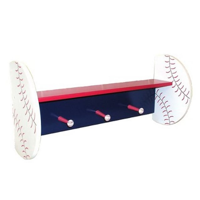 His treasured baseballs and favorite jerseys can hold a place of honor on this adorable baseball wall shelf ($35).