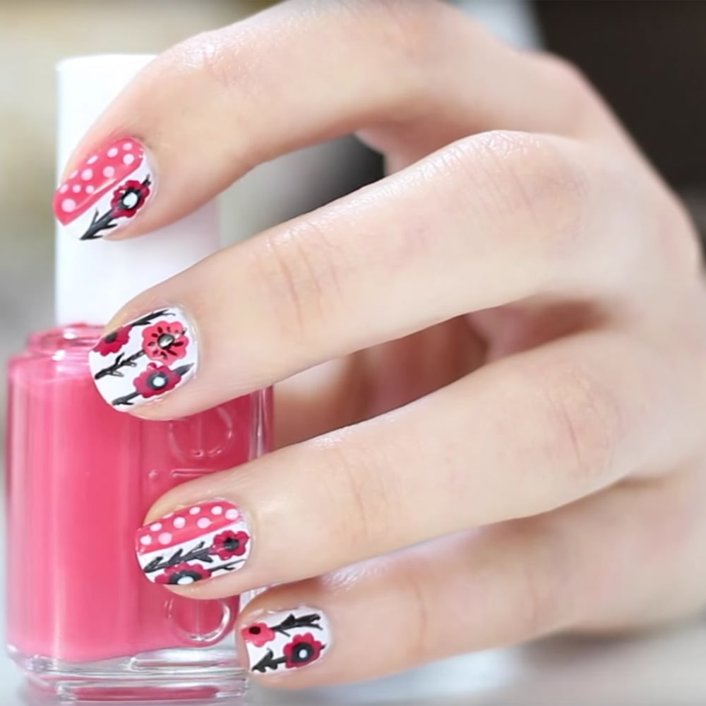 Floral nail art tutorial popsugar latina prinsesfo Gallery