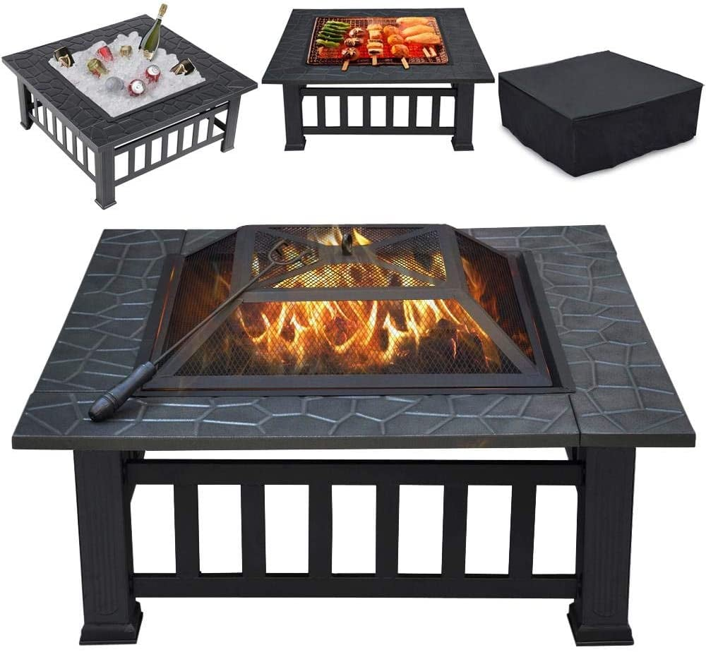 "Yaheetech Multifunctional 32"" Fire Pit Table"