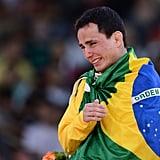 Brazil's bronze medalist judo player Felipe Kitadai cried on the medal podium.