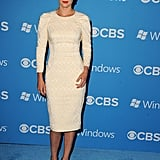 Cobie Smulders wore an ivory dress for the CBS Fall premiere party in LA.