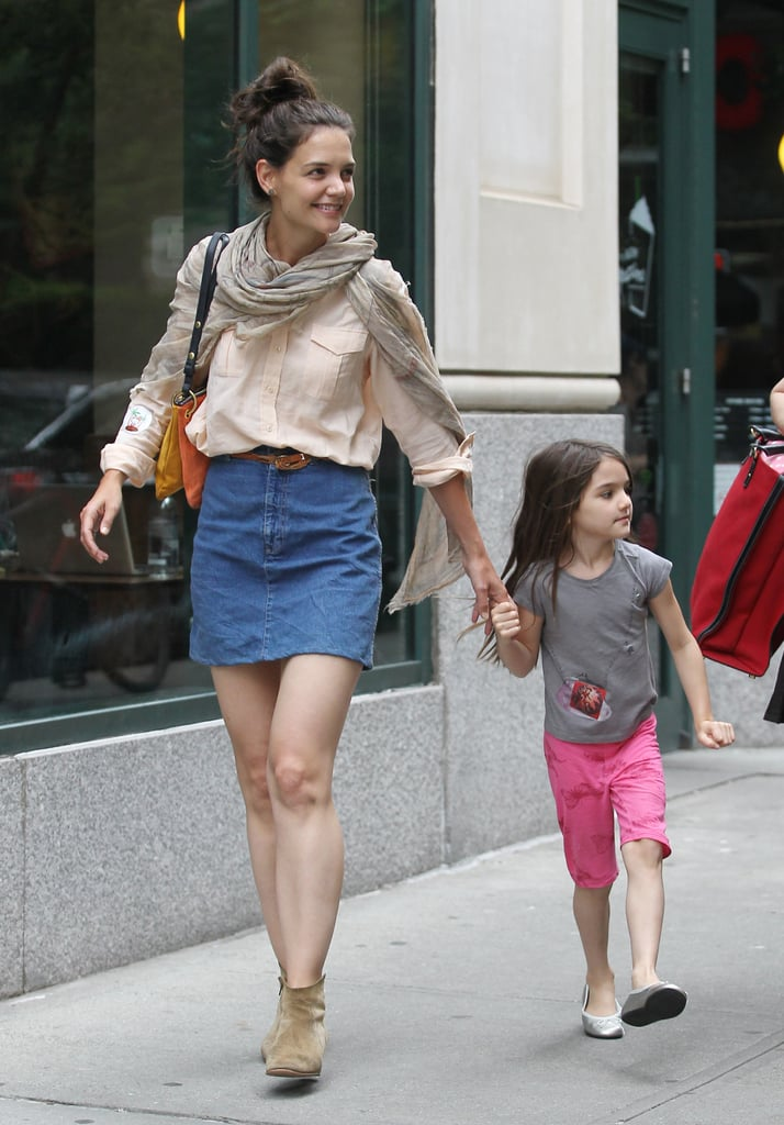 Katie Holmes and Suri Cruise went on a walk in NYC today. The mother and daughter were hand in hand as they strolled the city streets, and Katie even gave Suri a lift into a waiting car as they headed to their next destination. Katie and Suri are back at their home base in the Big Apple after spending the last few days in Connecticut, where Katie is shooting her latest movie The Seagull. The big-screen adaptation of the Chekhov play is her first movie role since the comedy Jack & Jill. While she is back to work, Tom Cruise is in the midst of filming his new thriller Oblivion in Louisiana. He's also gearing up for next month's release of Rock of Ages. Tom's role as a musician will give him the chance to show off his singing chops, and according to some early pictures and footage from the movie, his abs!