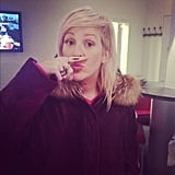 Ellie Goulding showed off her mustache. Source: Twitter user elliegoulding