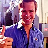 Ali Adler captured a picture of Andrew Rannells giving the thumbs up after voting. Source: Instagram user aliadler