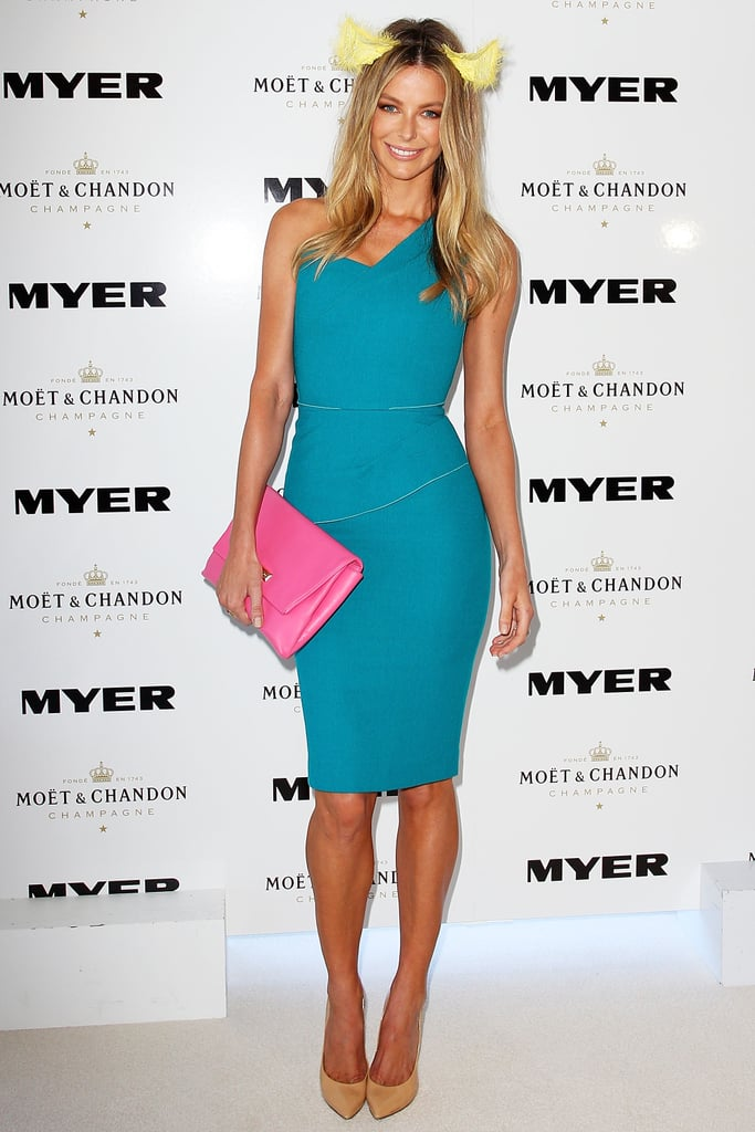 POPSUGAR Australia: What is a typical day at the races like for you? Jennifer Hawkins: It's pretty hectic, to be honest. Like with the first half of the day, you're prepping, you get your hair and makeup done — which is fun, I really enjoy it, actually — and when you get to the track it's media. You're talking about fashion and everything that's involved with that. Then I do Fashions on the Field, so I usually judge the finals of that; that's on Oaks Day. I like to let loose. I usually have some friends who come, and we put a bet on, which is really fun. And there's mingling . . . So it's work, but it's not hard work, obviously — but there's a lot of media! [Laughs]