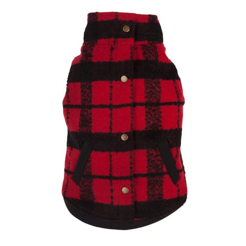 Fabdog Red/Black Plaid Bouclé Coat
