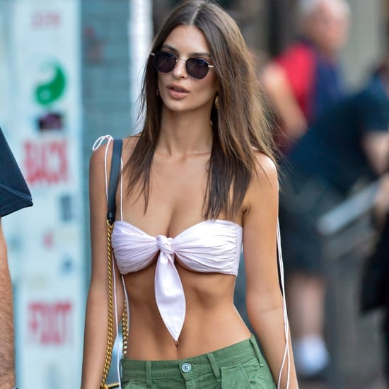 Emily Ratajkowski White Bikini Top and Green Cargo Pants