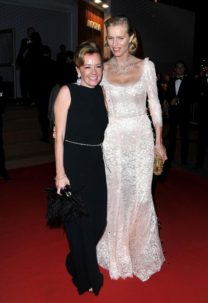 Eva Herzigova pose with Caroline Gruosi-Scheufele at the opening night dinner of the Cannes Film Festival.