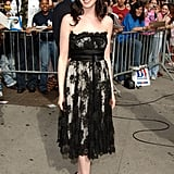 June 2006 at the Late Show With David Letterman, Anne wore a frilly black lace strapless cocktail dress that represented her feminine style.