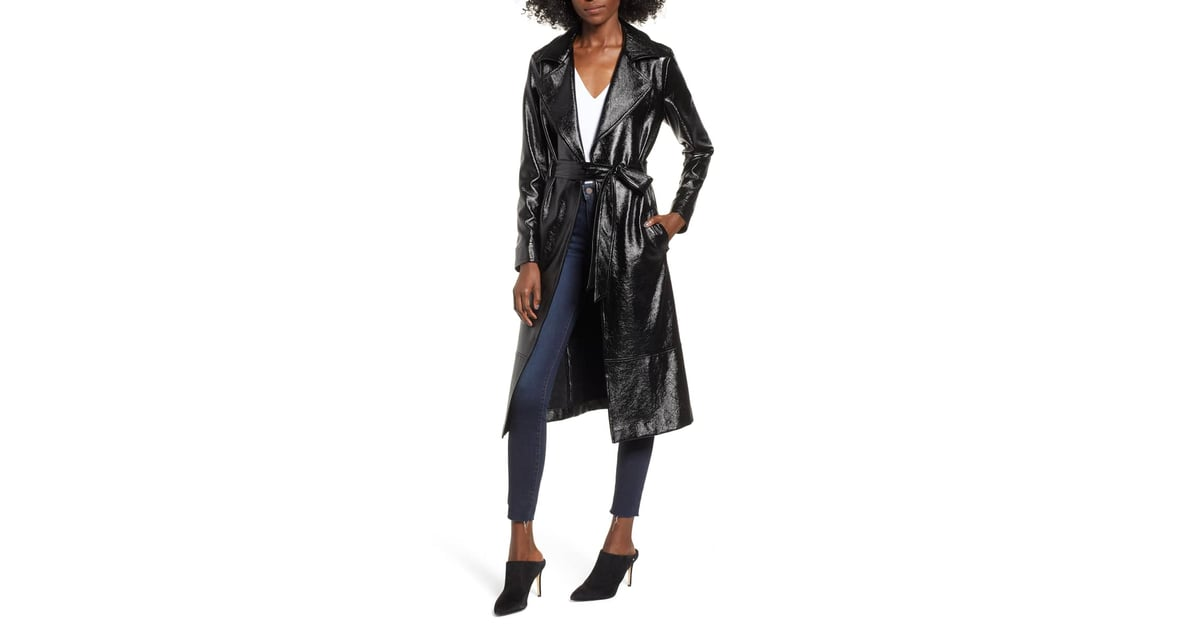 e29cfb8fa372 Leith Faux Patent Leather Trench Coat