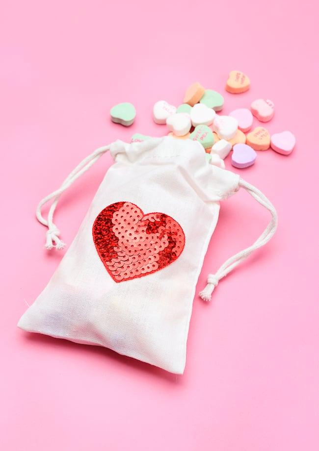 DIY Sequin Heart Treat Bags