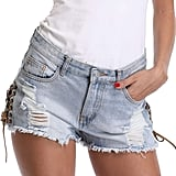 Miss Moly Women's Casual Mid Rise Raw Hem Ripped Distressed Denim Shorts