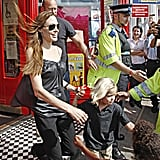 Angelina Jolie leaving a toy store.