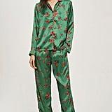 Topshop Green Satin Pyjama Set