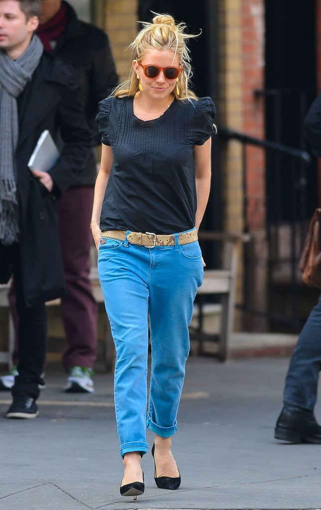 Sienna Miller Brightens Up the City Streets in Blue