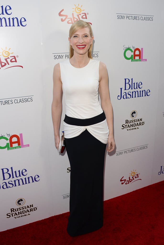 Cate had a monochrome moment at the L.A. premiere of Blue Jasmine in a black and ivory Alexander McQueen gown.