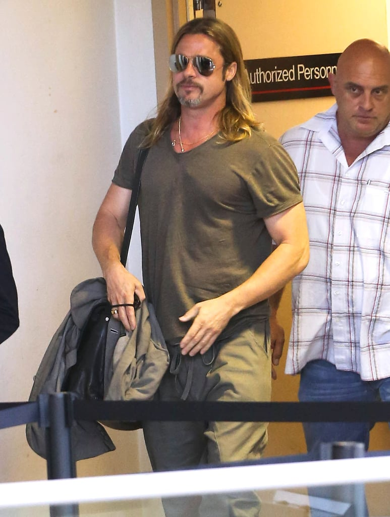 Brad Pitt went through airport security.