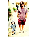 Skyler Berman mimicked his father, Rodger, with his hands in his pockets. Source: Instagram user rachelzoe