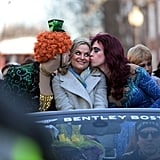 Amy Poehler found herself in a smooch sandwich during an eventful stop at Harvard University in Cambridge, MA, on Thursday.
