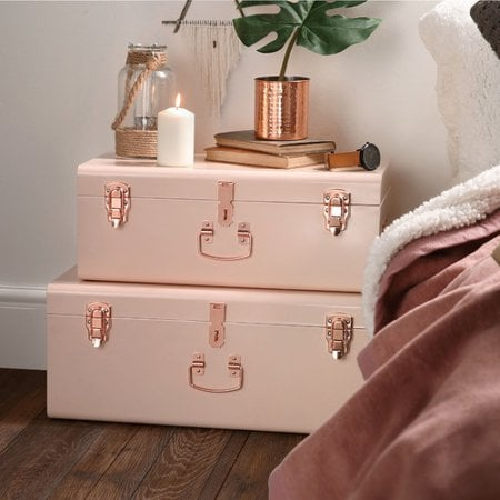 Beautify Storage 2 Piece Trunk Set in Blush Pink