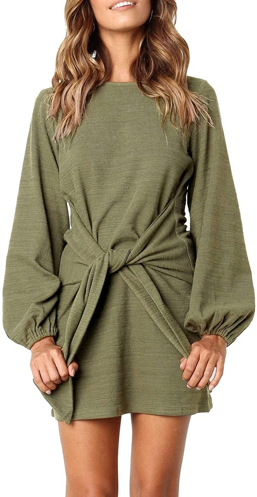 R.Vivimos Cotton Long-Sleeved Tie-Waist Sweater Dress