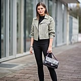 Try a cropped jacket to play with proportions.