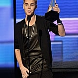 Justin Beiber accepted an award on stage in LA.