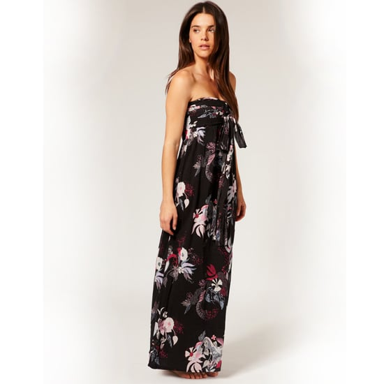 """>> Dress it down. A vintage-washed denim jacket, aviator glasses and sparkly diamond studs lend the perfect dose of irreverent cool. O'neil Floral Print Maxi Dress, $87 Looks chic with: <iframe src=""""http://widget.shopstyle.com/widget?pid=uid5121-1693761-41&look=3354536&width=3&height=3&layouttype=0&border=0&footer=0"""" frameborder=""""0"""" height=""""244"""" scrolling=""""no"""" width=""""286""""></iframe>"""