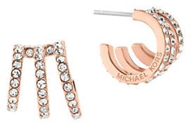 Michael Kors Modern Brilliance Cubic Zirconia Rose Goldtone Hoop Earrings ($75)