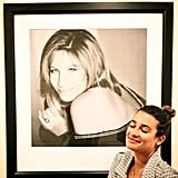 Lea posed near a framed photo of her idol, Barbra Streisand, in July 2013. Source: Instagram user msleamichele