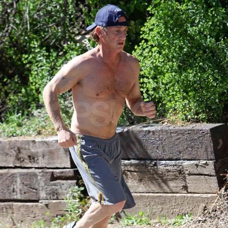 Sean Penn Goes Shirtless For a Sweaty Jog in Malibu