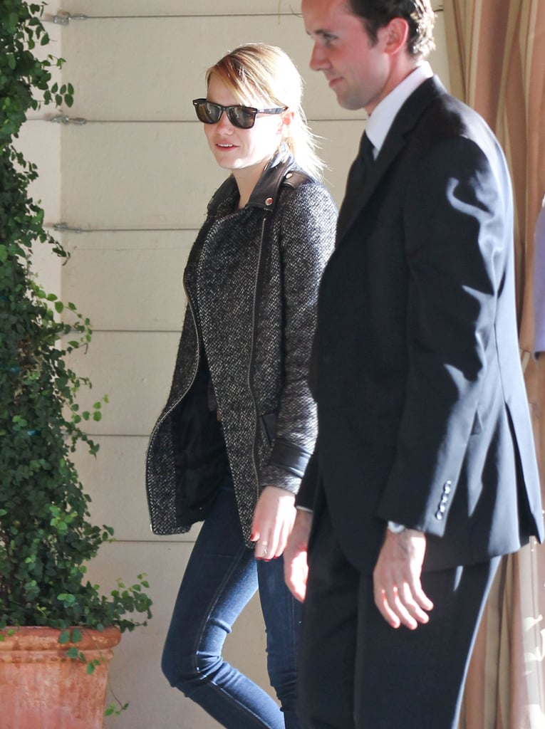Emma Stone headed into the hotel.