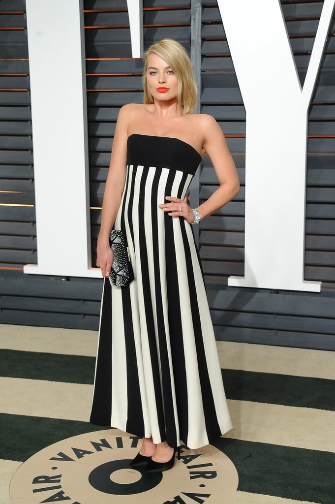Wearing a Dior dress and Niwaka jewels to the Vanity Fair Oscars afterparty in 2015.