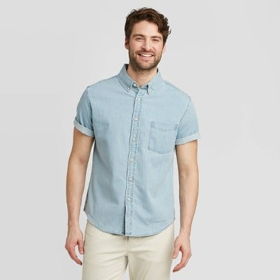 Standard Fit Short Sleeve Denim Shirt