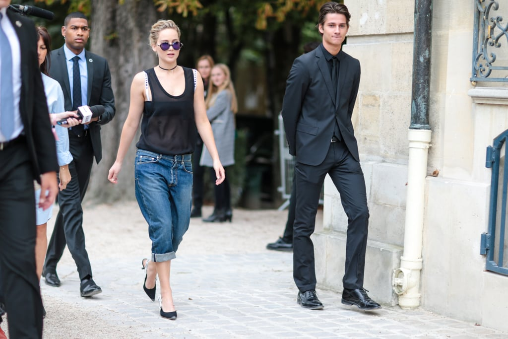 Jennifer Lawrence Wore Denim Capris While Sitting Front Row at Dior