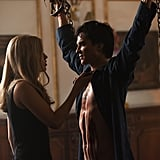 Claire Holt as Rebekah and Ian Somerhalder as Damon in The Vampire Diaries.  Photo courtesy of The CW