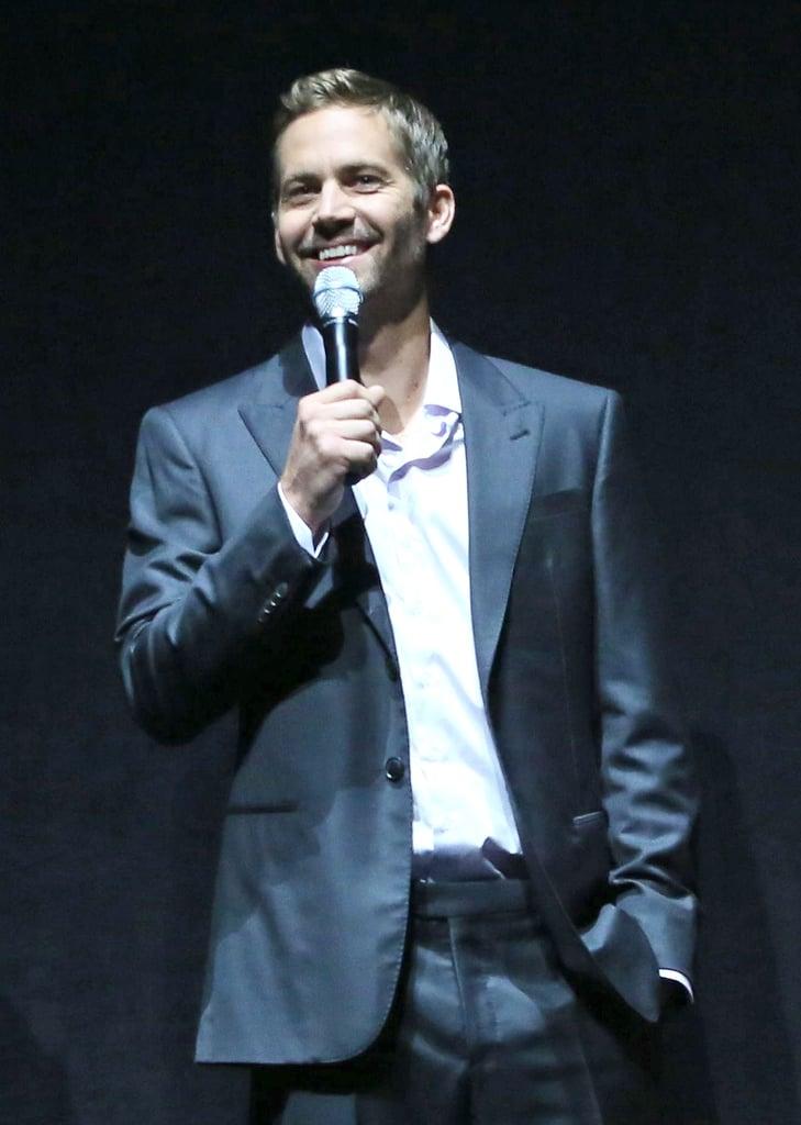 Paul Walker spoke at CinemaCon in Las Vegas in April 2013.