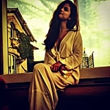 Selena Gomez relaxed after her show with a glass of wine and a cozy robe. Source: Instagram user selenagomez
