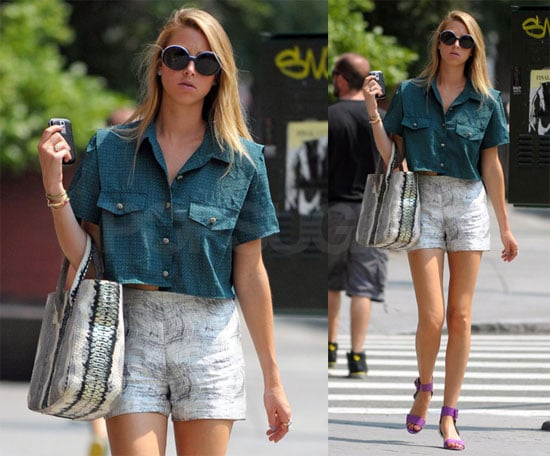 Photos of Whitney Port Wearing a Crop Top and Short Shorts in NYC