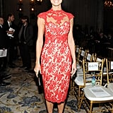Stacy Keibler opted for fitted red lace dress and black pumps at the Marchesa show.