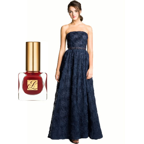 Dare to add some drama to this feminine Strapless Soutache Gown ($278) from Adrianna Papell by swiping on a couple coats of Estée Lauder Nail Lacquer in Molten Lava ($20).