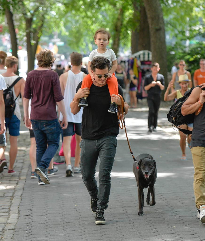 Orlando Bloom and his son Flynn shared some special father-and-son time when they took their dog for a walk around New York City on July 7.