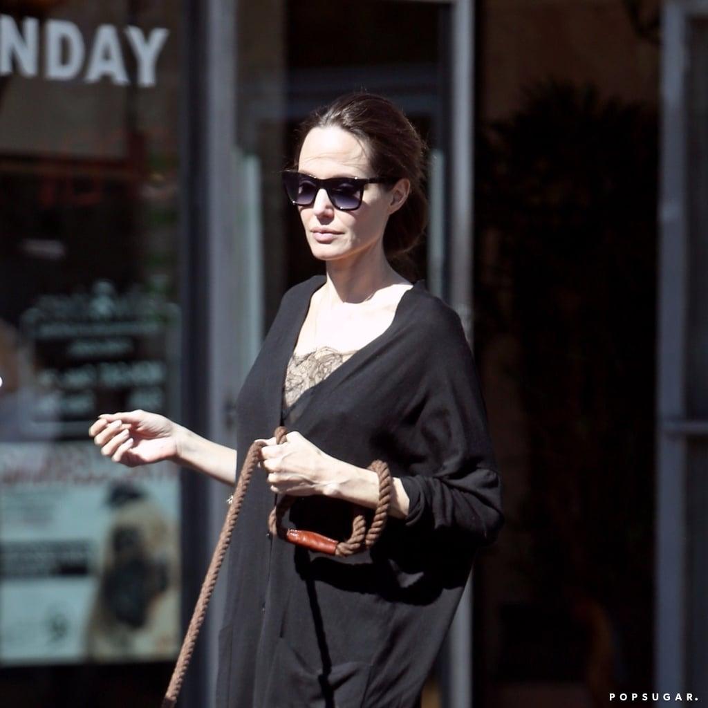 Angelina Jolie Wearing Black Everlane Heels