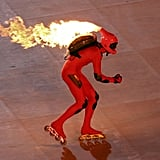And skaters raced around with fire coming out of their helmets.
