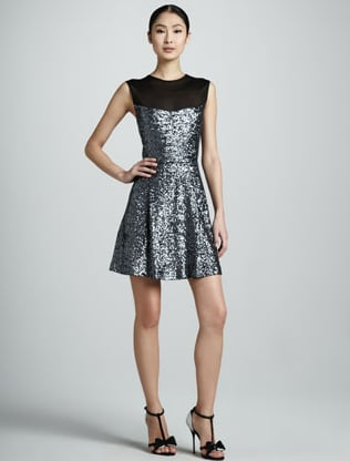 The fit-n-flare silhouette screams lady but this Nicole Miller sequined fit-n-flare dress ($365) is dually amazing because it screams ladylike and holiday fun.