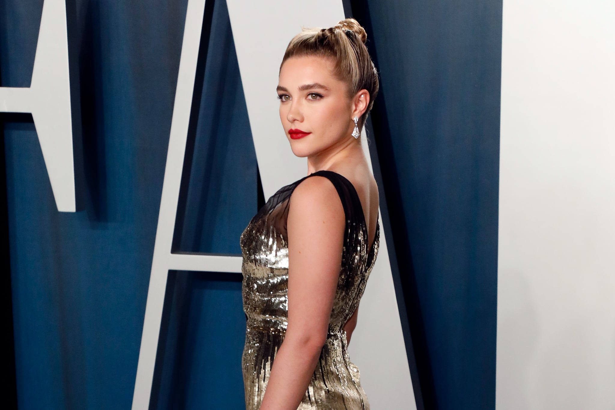 BEVERLY HILLS, CALIFORNIA - FEBRUARY 09: Florence Pugh attends the Vanity Fair Oscar Party at Wallis Annenberg Centre for the Performing Arts on February 09, 2020 in Beverly Hills, California. (Photo by Taylor Hill/FilmMagic,)